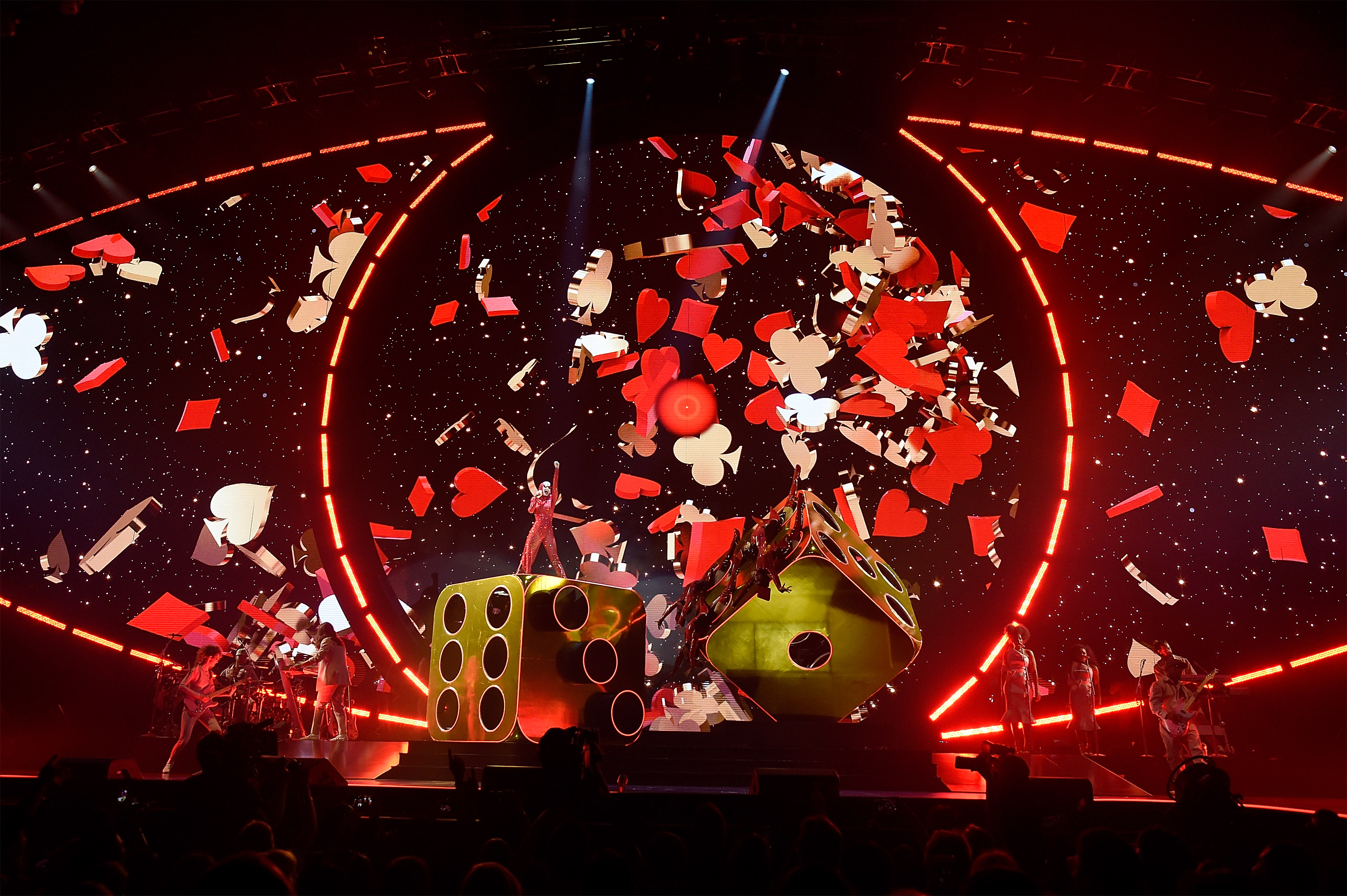 "MONTREAL, QUEBEC - SEPTEMBER 19: (Editorial Use Only) Katy Perry performs onstage during her ""Witness: The Tour"" tour opener at Bell Centre on September 19, 2017 in Montreal, Canada. (Photo by Kevin Mazur/Getty Images for AEG)"